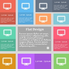 monitor icon sign Set of multicolored buttons with vector image