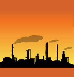 Oil refinery industry silhouette in daytime vector