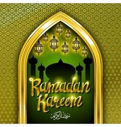Ramadan greeting card on green background vector