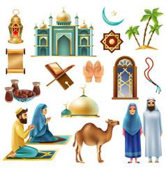 ramadan kareem mubarak symbols icons set vector image vector image