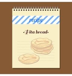 Recipe book pita bread vector