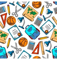 School supplies sporting items seamless pattern vector image vector image
