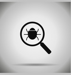 Search bug icon virus vector