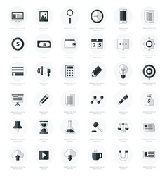 Set of business flat design icons black color styl vector