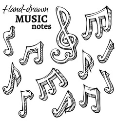 Set of sketch music icons vector
