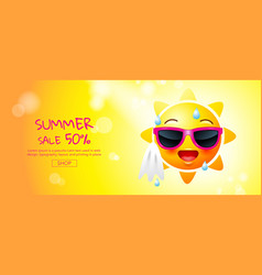 Summer sale cartoon sun face layout design vector