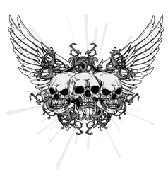 T-shirt design with skulls vector
