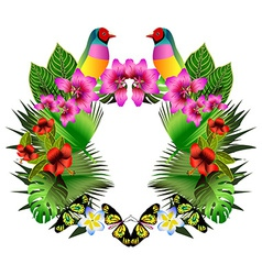 Tropical flowers and leaves and beautiful bird vector image vector image
