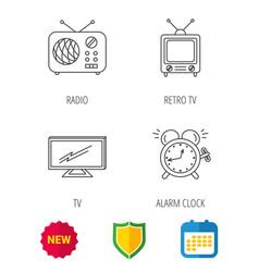 Tv retro radio and alarm clock icons vector