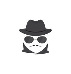 Unknown man with a mustache in hat and glasses vector