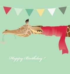 Vintage Birthday greeting card with jiraffe vector image vector image