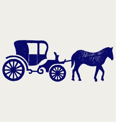 Vintage carriage and horse vector image vector image