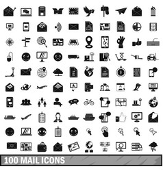 100 mail icons set in simple style vector image