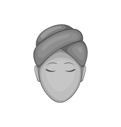 Face of girl on spa icon black monochrome style vector