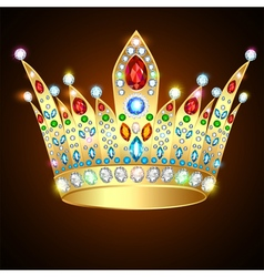 Royal shiny gold crown with precious stones vector