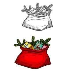 Christmas Santa gifts sack bag isolated sketch vector image
