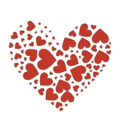 Big heart composed of small red hearts vector image