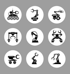 Monochrome technology factory robot icons design vector