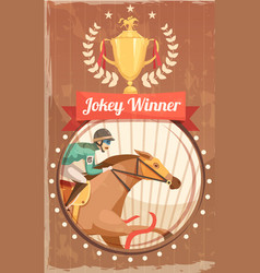 Jockey winner vintage poster vector
