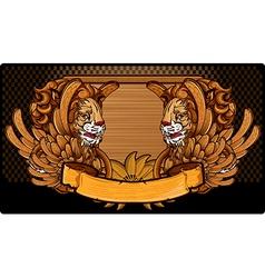 Lion wood frame vector image