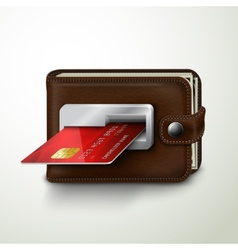 Brown leather wallet atm bank machine vector image