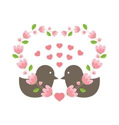 Love birds wearing a heart wreath vector