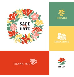Floral wreath Flat colorful design vector image
