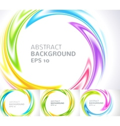 Set of abstract swirl circle bright background vector image
