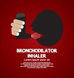 Asthma patient using bronchodilator inhaler vector