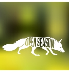 Fox silhouette with concept phase inside on blur vector