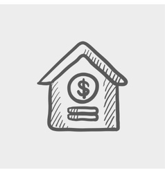 Dollar house sketch icon vector