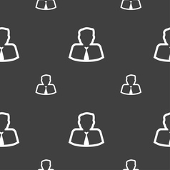 Avatar icon sign Seamless pattern on a gray vector image