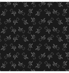 Seamless pattern with cartoon cute outline rabbit vector