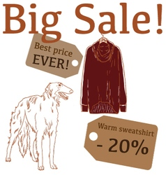 Big sale with hunting dog sweatshirt vector