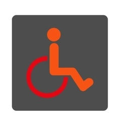 Disabled person rounded square button vector