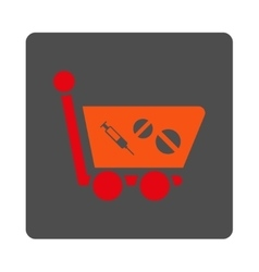 Medication shopping cart flat button vector