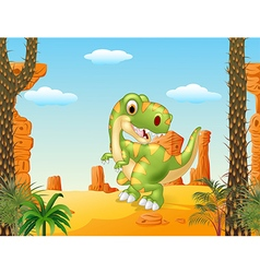 Cartoon dinosaur tyrannosaurus looks sideways vector