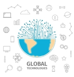 Global technologies concept vector