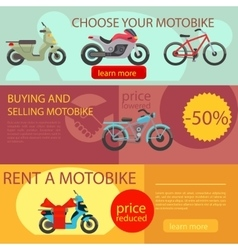 Motorbike rent and buy banners vector