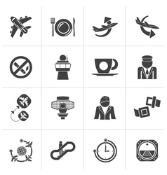 Black aircraft airport and plane icons vector