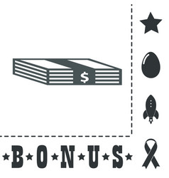 Bundle of dollars icon vector