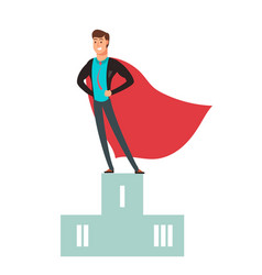Business competition winner super hero man vector
