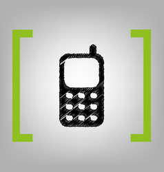 Cell phone sign black scribble icon in vector
