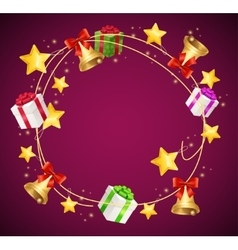 Christmas and birthday gift box garland background vector
