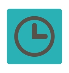 Clock flat grey and cyan colors rounded button vector