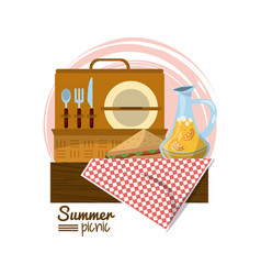 Colorful logo summer picnic with picnic basket on vector