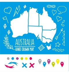 Doodle Australia travel map with pins and extras vector image vector image