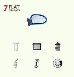 Flat component set of heater auto component vector