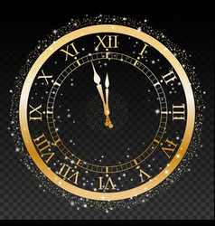 gold new year clock on a transparent background vector image