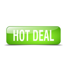 Hot deal green square 3d realistic isolated web vector